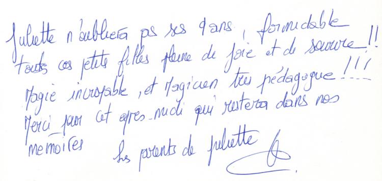 18 Mai 2013 - Témoignage Anniversaire  Juliette 9 ans