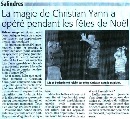 Chrystian Yann - animateur anniversaire enfant - Article de Presse
