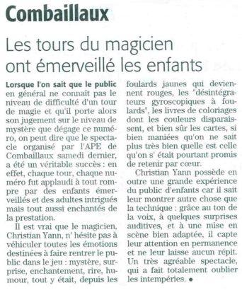 Chrystian Yann à Combaillaux : Articles de Presse